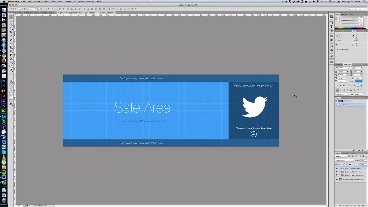 Photoshop Twitter Cover Photo Template Tutorial - YouTube