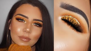 Mustard Yellow Glitter & Glam Thanksgiving Makeup Look | Tempest Taylor