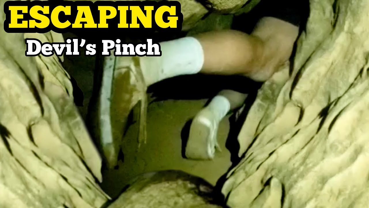 ESCAPING THE DEVILS PINCH / Caving & Spelunking Tight Squeeze In Bone Cave West Virginia