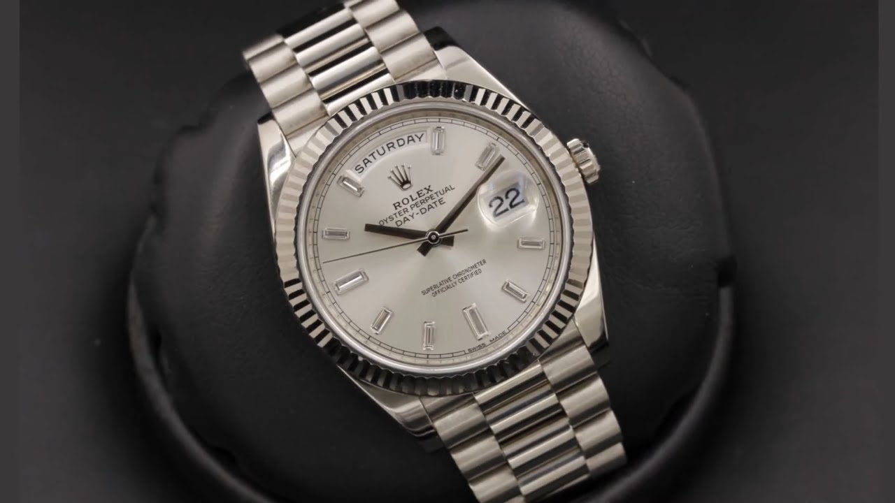 Rolex Day Date 228239 Silver Diamond Dial 40 Mm White Gold By Ocwatchguy
