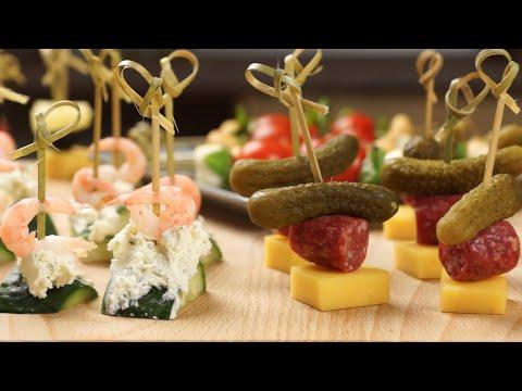 Канапе на праздничный стол (закуски для фуршета) на Новый год - 4 оригинальных варианта + бонус