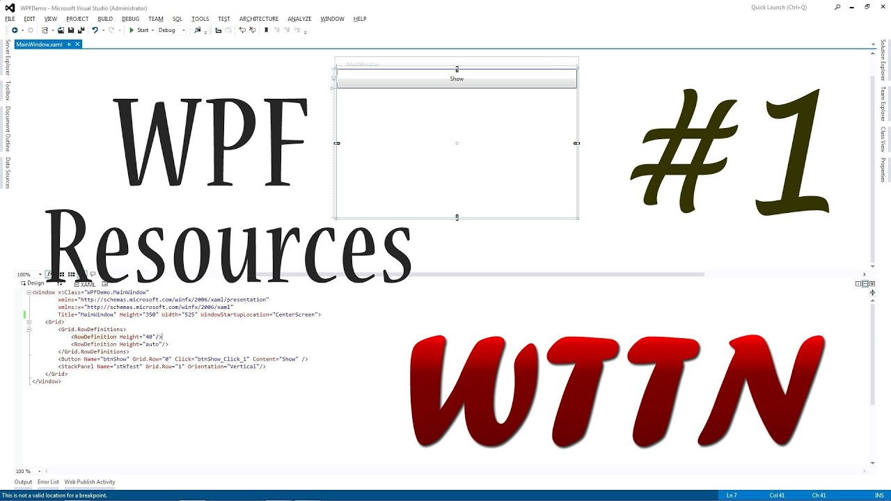 Tutorial WPF Application Resources (C#) | Creating And Using A Static  Resource