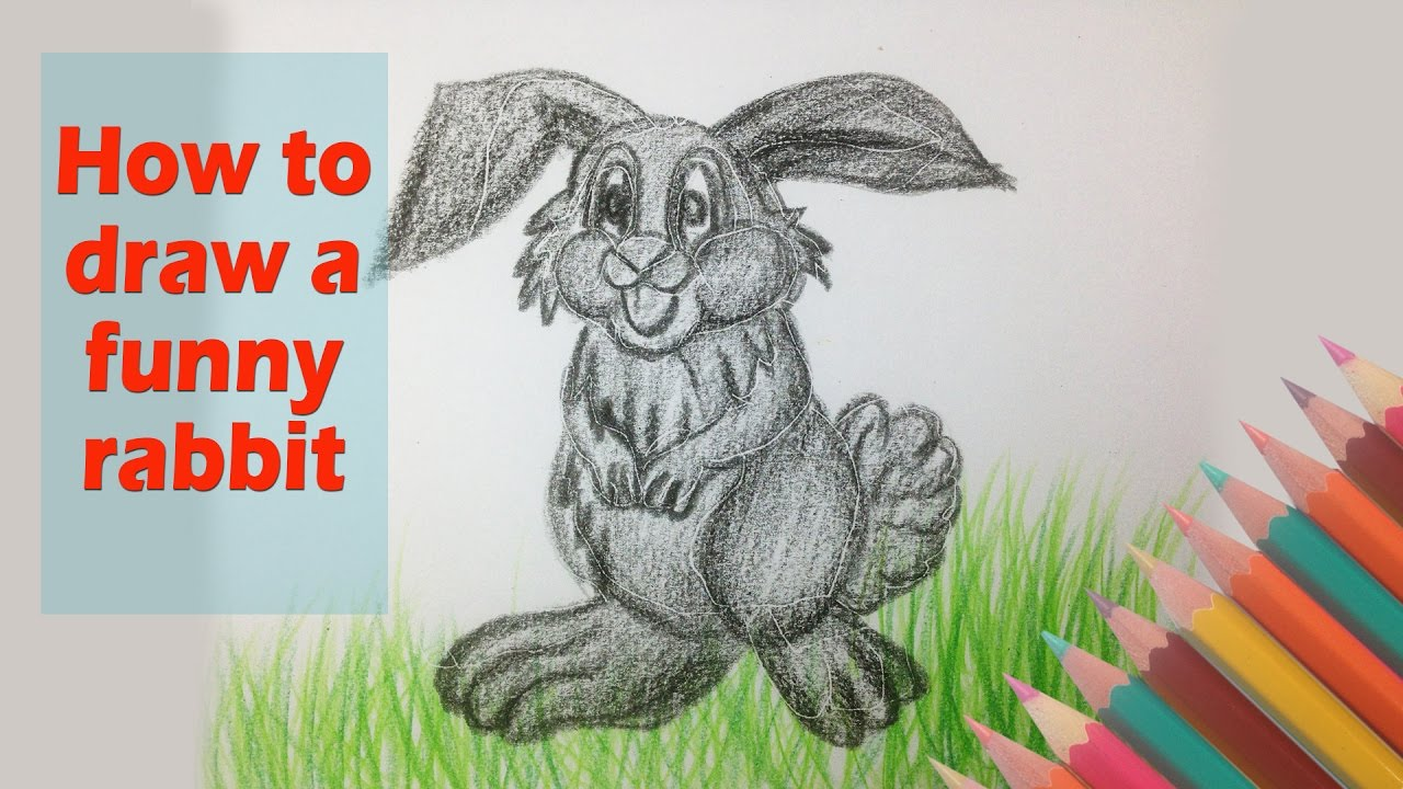 How To Draw A Funny Rabbit Drawing Cute Animal Video For Kids