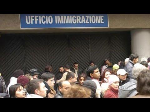 Asilo politico in Italia.  Questura di Roma. Immigration police Headquarters office Italy