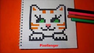 Котик с большими глазами Как нарисовать по клеточкам в тетради Пиксель Арт