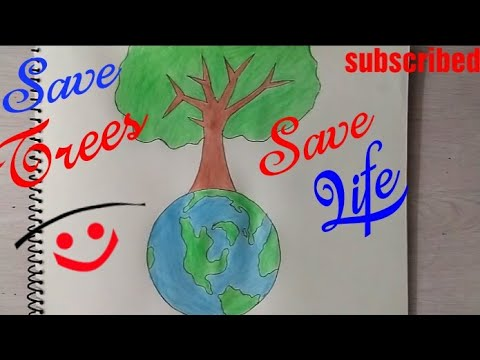 how to draw save trees coloring drawing step by step save earth