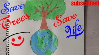How to Draw Save Trees Coloring drawing step by step Save Earth drawing Drawing Tutorial