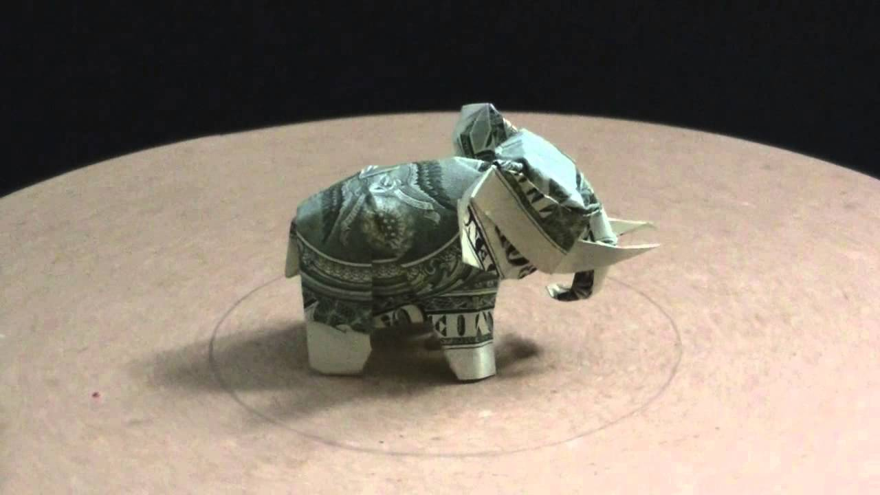 Origami Dollar Elephant 2 By Ken Hmoob Youtube