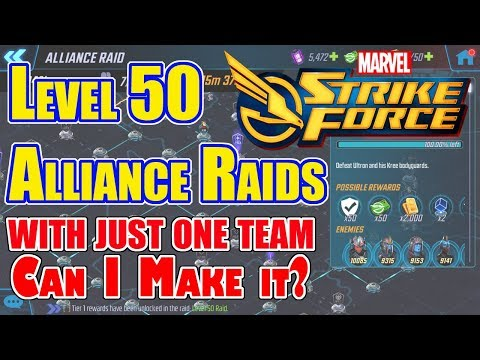 Marvel Strike Force - Level 50 Alliance Raids with one team