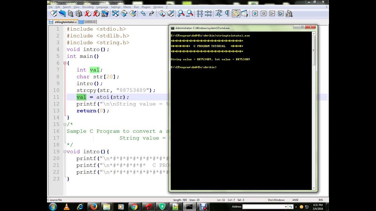 Convert String To Int Atoi C Program Youtube