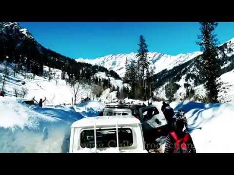 Heavy Traffic Jam in Solang Valley due to Heavy Snowfall, Manali, Himachal Pradesh, India. मनाली