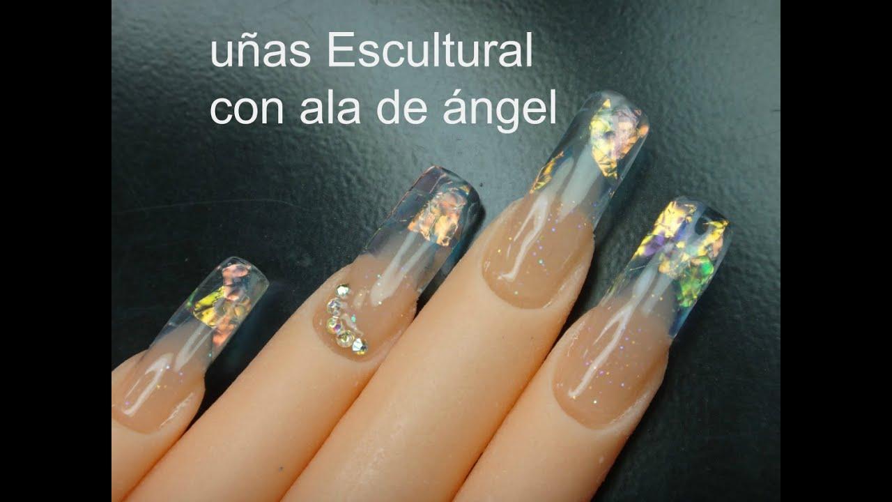 uñas escultural con ala de ángel - YouTube