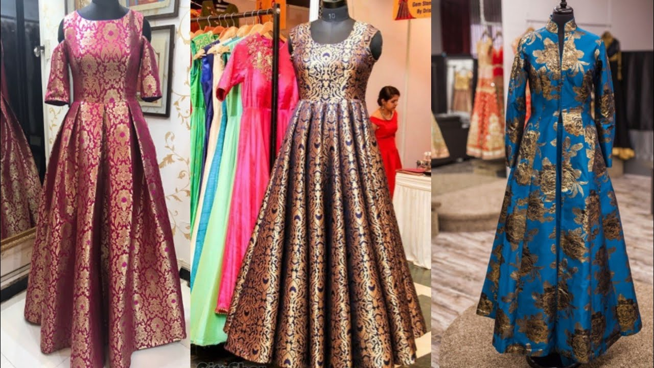 Beautiful Brocade Indian dresses designs ideas/Banarsi Brocade anarkali  dress Designs/Indo western