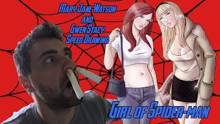 Mary Jane Watson & Gwen Stacy of Spider-man Comics Speed Draw
