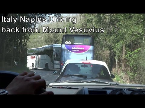 Italy, Naples: Driving back from Mount Vesuvio with Vesuvio Express shuttle bus tours