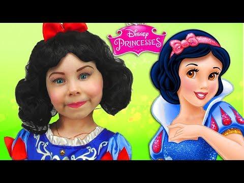 Disney Princess Snow White Kids Makeup Alisa Painting with Colours & DRESS UP Real Princess Dresses