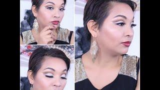Gold Glitter Liner Cut Crease / Holiday Makeup Tutorial