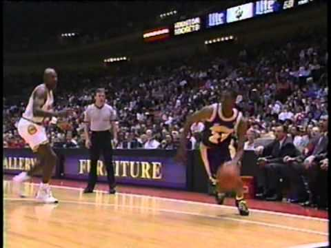 Eddie Jones monster 2-hand dunk - Lakers @ Rockets - 1994/95