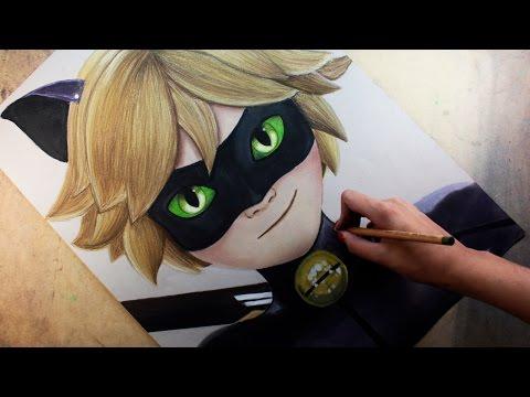 Speed Drawing: Cat Noir /Chat Noir (Miraculous Ladybug)   Diana Díaz