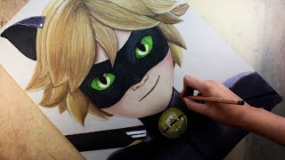Repeat youtube video Speed Drawing: Cat Noir /Chat Noir (Miraculous Ladybug) | Diana Díaz