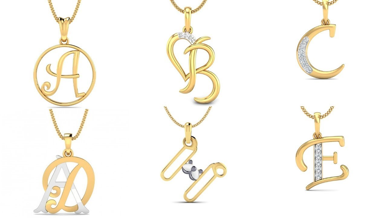 Alphabet Pendant Designs In Gold | Gold Lockets With Letters