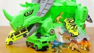 メカっぽいトリケラトプス に ミニカー ミニサイズの恐竜がセットのおも...