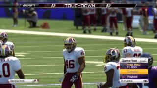 Madden NFL Online Gameplay 4th Quarter- Greatest Comeback- Washington Redskins At Baltimore Ravens
