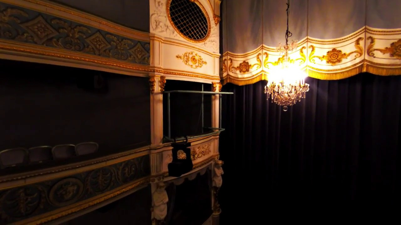 Tournage d'une vidéo avec un drone à l'intérieur d'un Théâtre