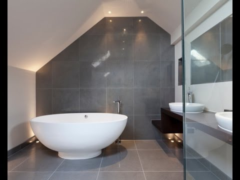 Grey And White Bathroom Tile Ideas Youtube - Grey-bathroom-tile