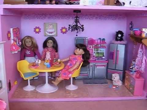 american girl doll house kitchen tour youtube