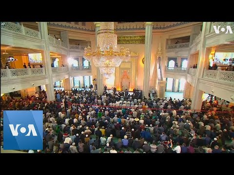 Huge Crowds Fill The Streets For Eid Al-Fitr Prayer In Moscow, Russia