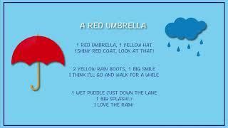 A red umbrella . Poem to teach on a rainy day. ESL