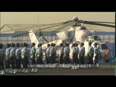 Marching men in uniforms - Indian Air Force day