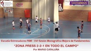 Formación ZONA PRESS 2 2 1 EN TODO EL CAMPO. Por Mario Cataluña.  Escuela Entrenadores FBM
