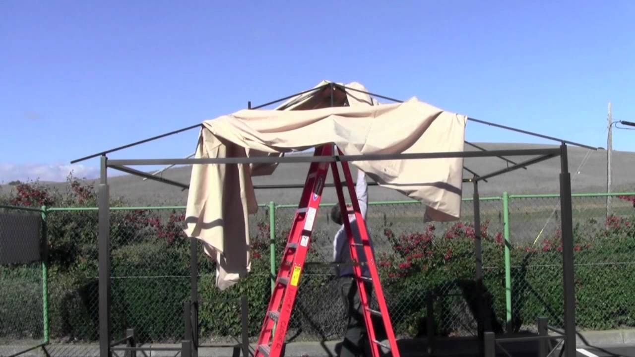How to install a Home Depot Harbor Gazebo Canopy & How to install a Home Depot Harbor Gazebo Canopy - YouTube