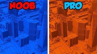 Minecraft NOOB vs. PRO: WATER vs. LAVA CITY BASE in Minecraft! (Animation)