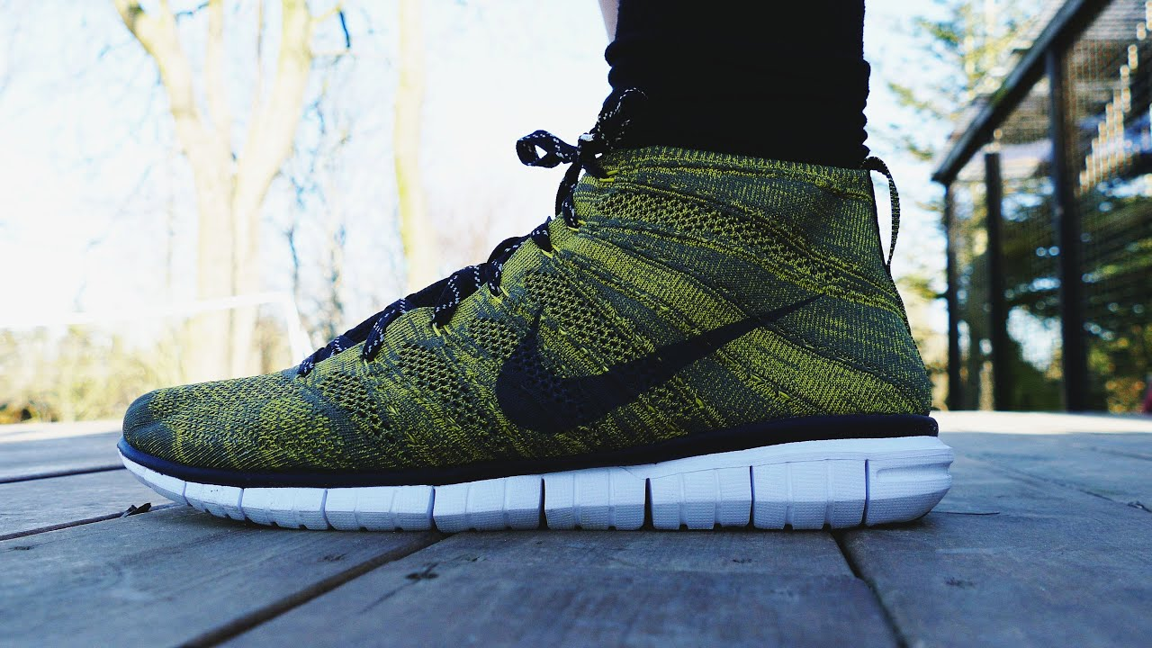 nike free flyknit chukka yellow black tarp green
