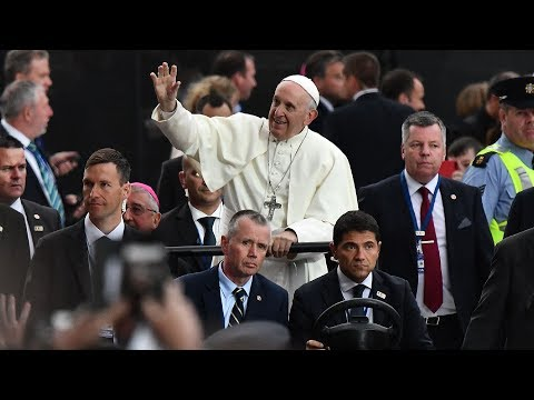 Pope Francis arrives to cheering crowds at Dublin Stadium
