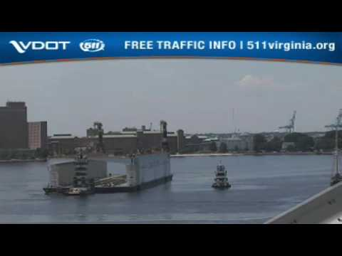 Large dry dock transport goes down the Elizabeth River Part 2