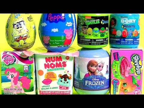 Surprise Eggs SpongeBob Peppa Pig Shopkins NUM NOMS Dory TMNT My Little Pony MASHEMS Kids Video