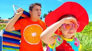 Nastya e papai aventura divertida na praia