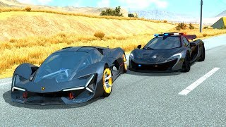 McLaren P1 Police Car vs Street Racers - BeamNG Drive POLICE CHASES Crashes/Fails