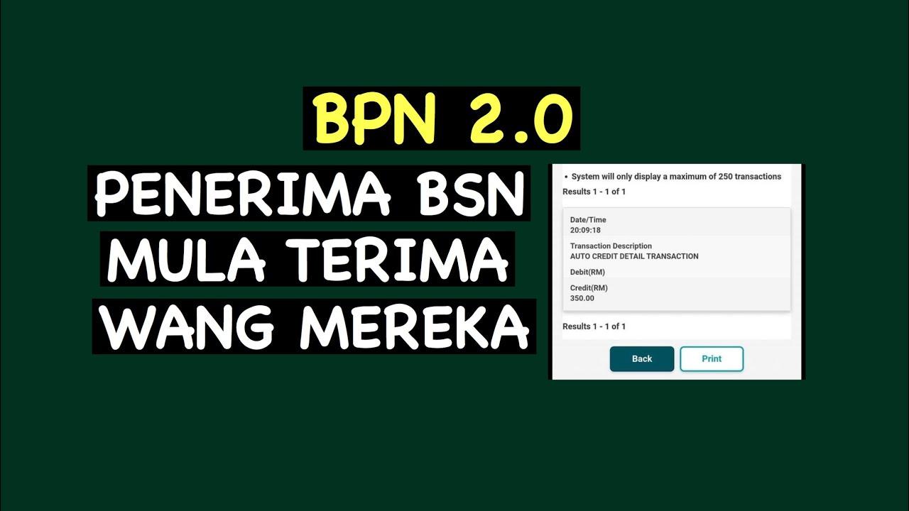 BPN 2.0, PENERIMA BSN MULA TERIMA WANG MEREKA