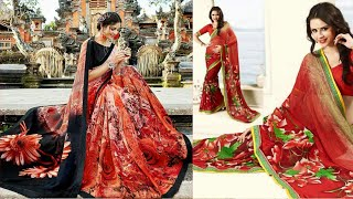 Simple & Fancy Flower Printed Saree Collection||Designer Silk Saree Collection||