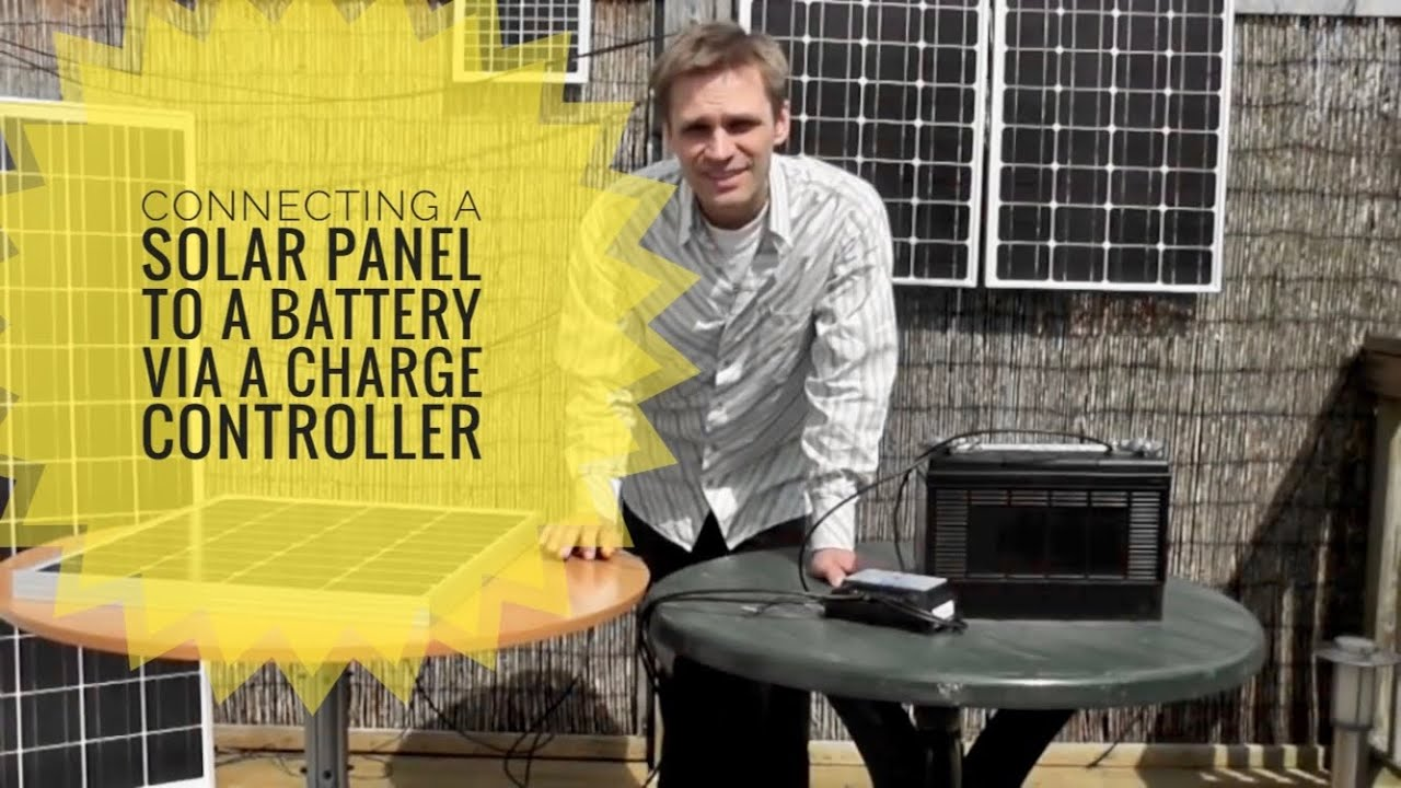 how to connect an akt solar panel to a battery via a charge controller youtube [ 1280 x 720 Pixel ]