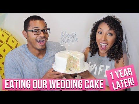 eating-our-wedding-cake-1-year-later!-1-year-wedding-anniversary!-|-biancareneetoday