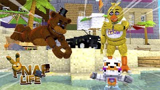Minecraft FIVE NIGHTS AT FREDDY'S LIFE-CHICA'S AND FREDDY'S BABY ALMOST DROWNS???- Baby Leah
