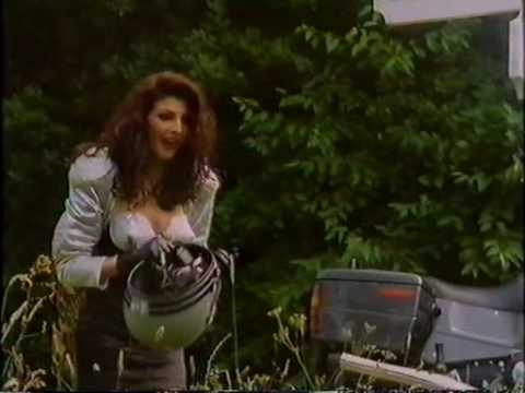Actress Gina Bellman In Crash Helmet from Black Eyes 1989