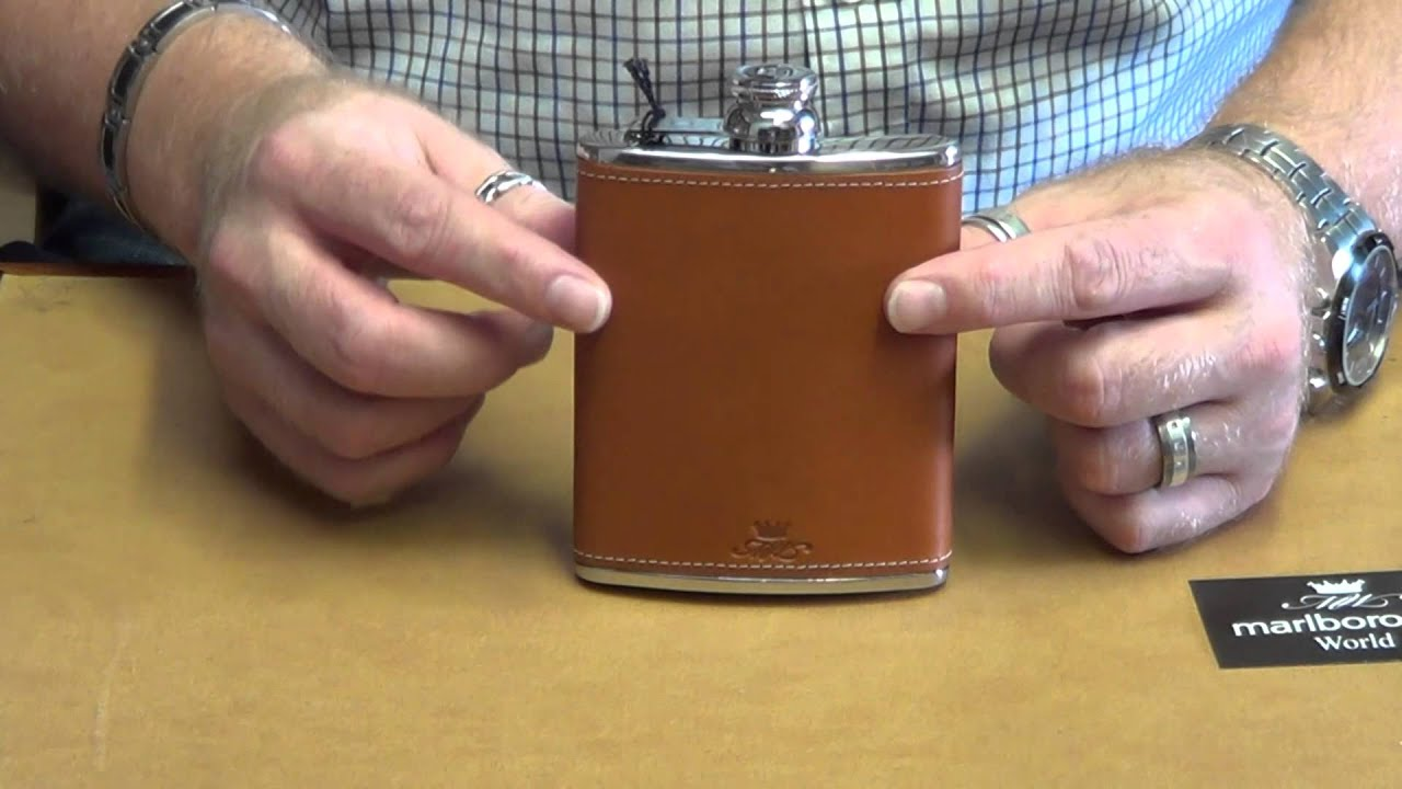 Marlborough Of England 6oz Hip Flask In Tan Leather Youtube