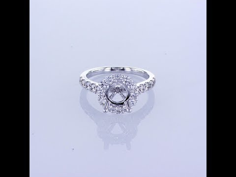 1.00CT 18KT WHITE GOLD ROUND HALO DIAMOND ENGAGEMENT RING SETTING
